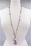 BRAIDED LEATHER NECKLACE WITH AMETHYST, AMAZONITE, QUARTZ, AND PEARLS