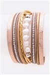 PEARL, CRYSTAL AND LEATHER CUFF