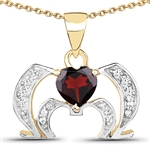 1 C.T.W. GARNET AND WHITE TOPAZ NECKLACE IN 14K GOLD OVER STERLING SILVER
