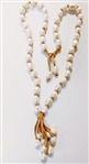 CULTURED PEARL AND LEATHER NECKLACE WITH PEARL TASSEL