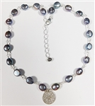 GREY PEARL NECKLACE WITH STERLING SILVER CHARM