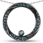 .25 C.T.W. BLUE DIAMOND NECKLACE IN STERLING SILVER