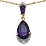 2.8 C.T.W. AMETHYST AND WHITE TOPAZ NECKLACE IN 14K GOLD PLATED STERLING SILVER