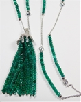 EMERALD BEAD AND TASSEL NECKLACE IN STERLING SILVER
