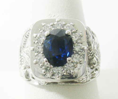 14K MENS WHITE GOLD SAPPHIRE AND DIAMOND RING