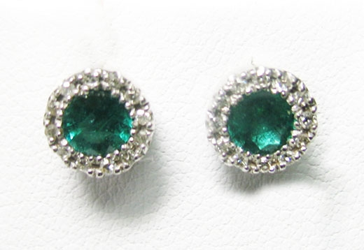 14K WHITE GOLD EMERALD AND DIAMOND EARRINGS .75 C.T.W.