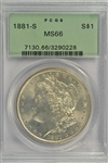 SIMPLY SUPERB OLD GREEN LABEL PCGS MS66 GRADED 1881-S MORGAN SILVER DOLLAR