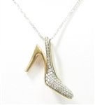 14K WG SINGAPORE NECKLACE WITH 14K YG DIAMOND SHOE PENDANT