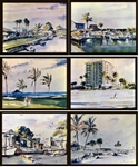 LEWIS *Set of Six (6) Litho-Prints* Individually Glass Framed Vintage