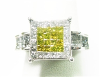 14K YELLOW AND WHITE DIAMOND RING 1 C.T.W.