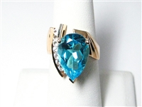 5.50 CT BLUE & WHITE TOPAZ LARGE COCKTAIL RING