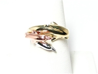 TRICOLOR TRIPLE DOLPHIN  RING