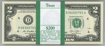 GEM ORIGINAL CU PACK OF $200 SERIES OF 2013 $2 FEDERAL RESERVE NOTES (D)