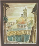 DIAZ *** CHURCH VIEW *** SIGNED WATERCOLOR