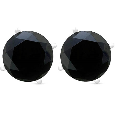 14K WHITE GOLD BLACK DIAMOND EARRINGS STUDS 2 C.T.W.