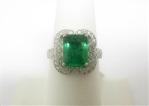 14K EMERALD AND DIAMOND RING 3.44 C.T.W.