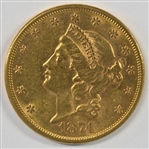 EARLY 1874-S $20 LIBERTY GOLD PIECE. BU CONDITION