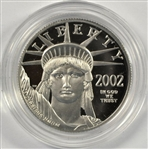 SUPERB GEM ULTRA CAMEO PROOF 2002-W $50 PURE PLATINUM EAGLE. BOX AND CERTIFICATE