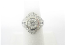 PLATINUM DIAMOND RING WITH 2.08 CT. SOLITAIRE, 3.35 C.T.W