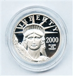 EXTREMELY HIGH GRADE 2000 W $50 HALF OUNCE PLATINUM AMERICAN EAGLE PROOF COIN