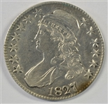 VERY SCARCE 1827 OVER 6 CAPPED BUST HALF DOLLAR. XF/AU