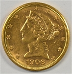 GOLDEN-FRESH BU 1906-D US $5 LIBERTY GOLD PIECE