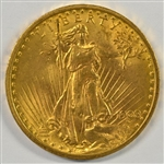 EYE-APPEALING BU 1908 NO MOTTO ST. GAUDENS $20 GOLD PIECE