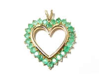LARGE 1 CT EMERALD GOLD HEART PENDANT