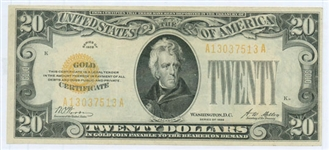 UNITED STATES $20 GOLD CERTIFICATE SERIES OF 1928
