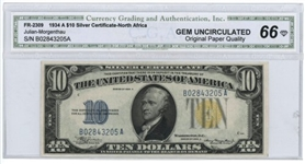 GEM UNCIRCULATED SERIES OF 1934-A $10 NORTH AFRICA SILVER CERTIFICATE. CGA-66