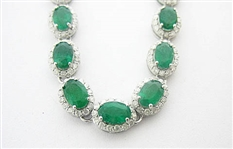 14K EMERALD AND DIAMOND NECKLACE 26.87 C.T.W.