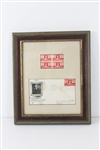 FRAMED AND MATTED 1948 FIRST DAY OF ISSUE 300TH ANNIVERSARY VOLUNTEER FIREMAN STAMP SET