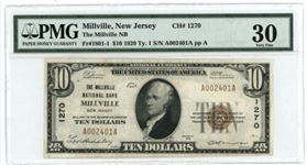 SELDOM OFFERED CHOICE VF 1929 SERIES $10 NATIONAL OF MILLVILLE, NJ (1270). PMG VF30