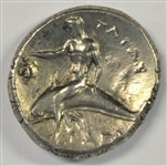 RARE BOY ON DOLPHIN SILVER DIDRACHM FROM 302 TO 281 BC