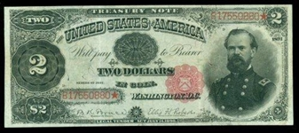 SCARCE 1891 LARGE SIZE $2 TREASURY NOTE IN HIGH GRADE