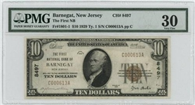 RARE 1929 $10 NATIONAL OF BARNEGAT, NJ (8497) PMG VF30