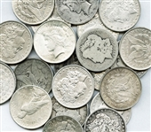 COLLECTION OF 21 MORGAN AND PEACE SILVER DOLLARS