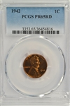 SCARCE 1942 FULL RED GEM PROOF LINCOLN CENT. PCGS PR65RD