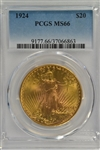 SPECTACULAR PCGS MS66 GRADED 1924 ST. GAUDENS $20 GOLD PIECE