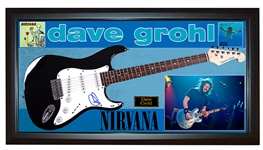 Nirvana Foo Fighters Dave Grohl Autographed Guitar Display
