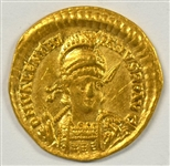 ULTRA RARE NEAR MINT VALENTINIAN III ROMAN IMPERIAL GOLD SOLIDUS, 426-429 AD