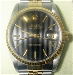 ROLEX MENS 18K AND STAINLESS STEEL QUICKSET DATEJUST