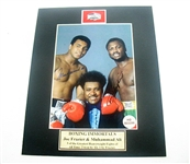 HAND SIGNED MUHAMMAD ALI AND JOE FRAZIER 5X7 IN A 8X10 MATTED DISPLAY