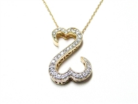 ".60 CT DIAMOND ""OPEN HEART"" 14K PENDANT WITH 14K CHAIN"