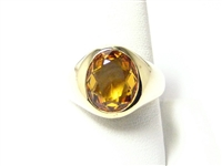 3 CT YELLOW GEMSTONE HEAVY VINTAGE MENS RING