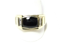 BLACK ONYX & DIAMOND GOLD MENS RING