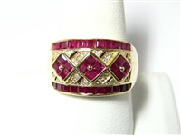 2 CT WIDE RUBY & DIAMOND 14K YG RING