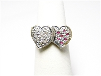 RUBY & DIAMOND DOUBLE HEART GOLD RING