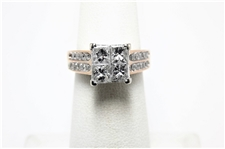 1.35 CT PRINCESS & ROUND DIAMOND 14K COCKTAIL RING