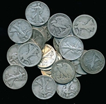 BAG OF 25 ASSORTED MIXED DATE SILVER WALKING LIBERTY HALF DOLLARS